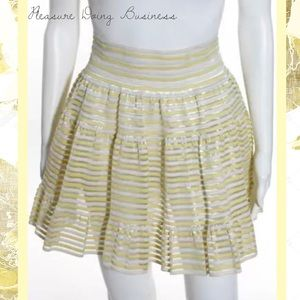 Pleasure Doing Business Dresses & Skirts - PLEASURE DOING BUSINESS Yellow/White Pleated Skirt