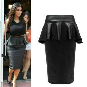 Black Faux Peplum Skirt