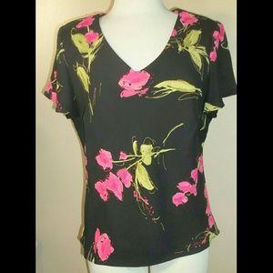k STUDIO  Tops - K STUDIO black floral cap sleeve blouse 16