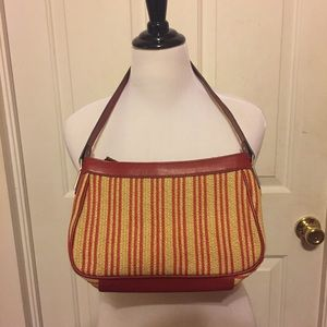 Unique Liz & Co Red Leather & Straw Purse/Handbag