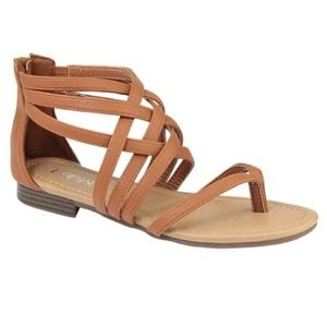 Shoes - NWT Tan Strappy Zip Back Sandals