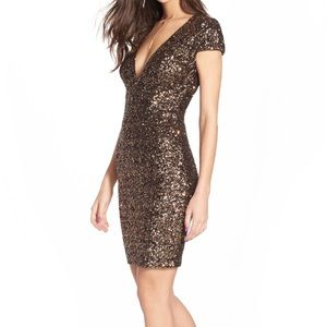Dress the Population Dresses & Skirts - Antique Gold Sequin Body Con Mini Dress