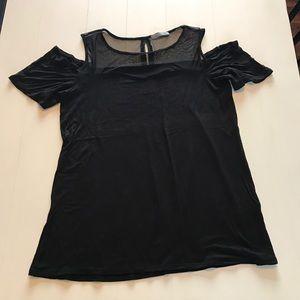Loveappella Tops - Loveappella Size XL Black Cold Shoulder Top