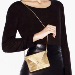 Jewelmint Handbags - UNIQUE JEWELMINT METAL ENVELOPE CLUTCH BAG + CHAIN