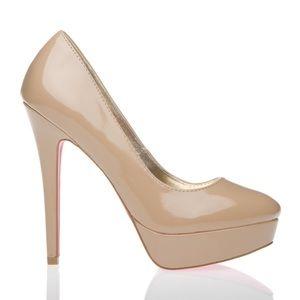Shoe Dazzle Shoes - Nude Platform Pumps
