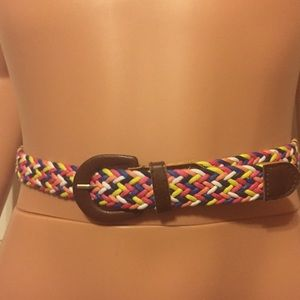 Multicolor/Brown Leather Braided Belt Size XS/S