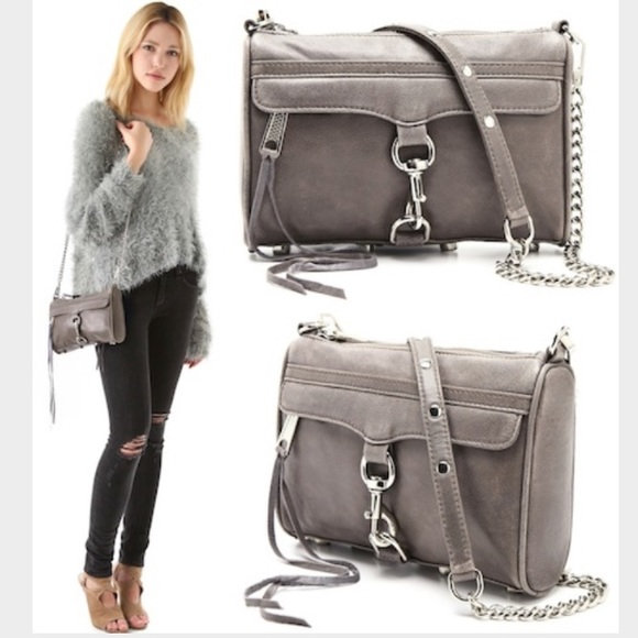 c0639611620 REBECCA MINKOFF MINI MAC GREY CROSSBODY HANDBAG