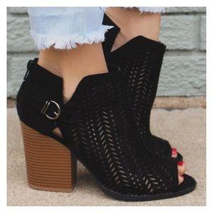 Shoes - Restocked- Vegan Suede Peep Toe Ankle Booties