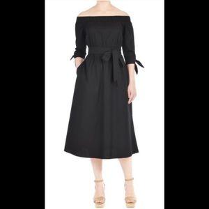 eshakti Dresses & Skirts - New Eshakti Black Off Shoulder Midi Dress 24W