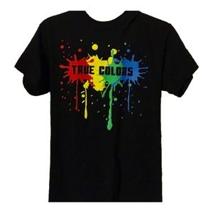 """TRUE COLORS"" colorful T shirt, Adult size Large."