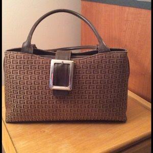 Brown double handle handbag