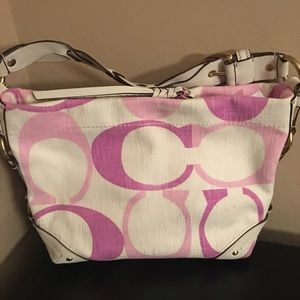 EUC Coach Pink and White Bag with Braided Leather