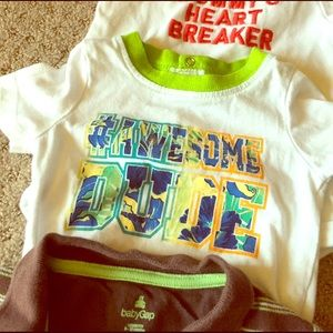 Charlie Rocket Other - 3 Summer onsies inc Awesome dude, mom heartbreaker