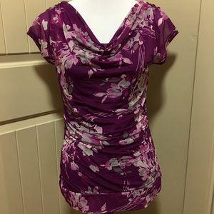Elle Tops - Elle - Gorgeous Purple Floral Spring/Summer Blouse