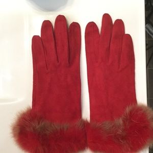 Red suede and fur gloves