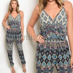 Jogger style teal jumpsuit