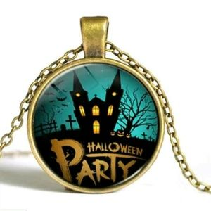 Halloween party cabochon necklace bronze tone