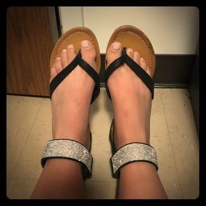 Traffic Shoes - Black and glitter sandals