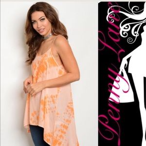 Tops - Orange  tie-dyed tank!