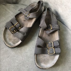 Mephisto Shoes - Mephisto Birkenstock type Leather Black Sandals 36
