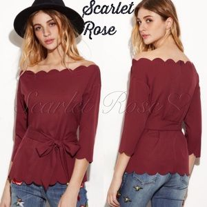 Scarlet Rose Boutique Tops - 🌹Burgundy Scalloped Edge Top with Belt🌹