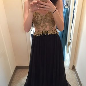Black and gold prom dress (negotiable)