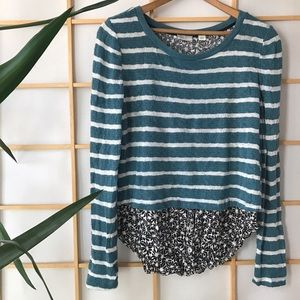 Anthropologie Postmark striped floral sweater top