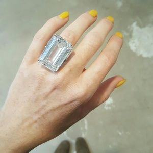 Jewelry - HUGE Sterling Silver CZ Emerald Cut Ring