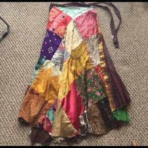 Vintage Dresses & Skirts - Hand made vintage patchwork reversible skirt