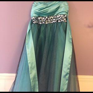 Teal/black prom dress w/ rhinestones