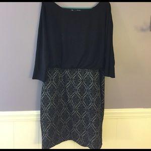 Black/gray patterned party dress