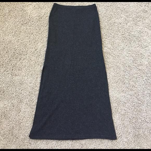 beauty good selling attractive & durable Charcoal grey FLEECE maxi skirt