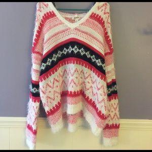 Pink/white/black patterned sweater w/ hood