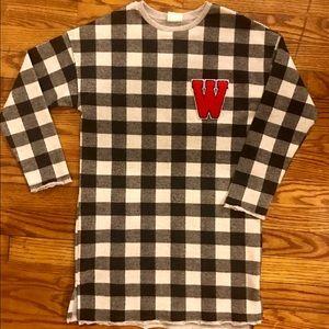 Black & White plaid shirt w/red letter M