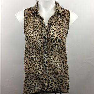 Sans Souci Tops - Sans Souci semi-sheer animal print blouse