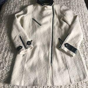 Nasty Gal Jackets & Blazers - Nasty Gal Boucle Knit Leather Trim Coat