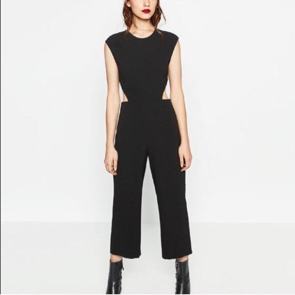 f9629ba99ed3 zara • black jumpsuit with tie-back. M 58c57b254225be355b00b28f