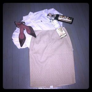 Tahari Dresses & Skirts - TAHARI tan & cream skirt center zip pencil skirt