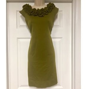 just taylor Dresses & Skirts - Olive green structured shift dress w/ ruffle