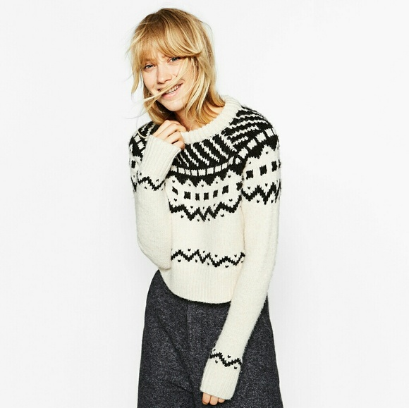 Zara - 🍂HOST PICK🍂Zara cropped jacquard sweater from Sunynus's ...