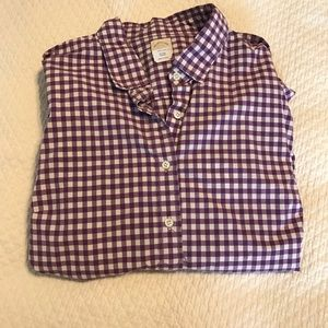 J. Crew Tops - J.crew the perfect shirt purple and white gingham.