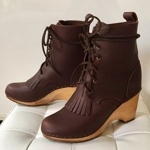 NO.6 LACE UP WEDGE KILTIE CLOG BOOT BY SVEN