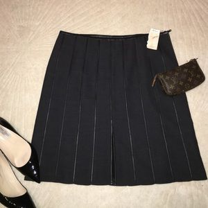 Armani Collezioni wool and leather skirt