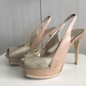 Bebe peep toes wedge high heels in nude and gold