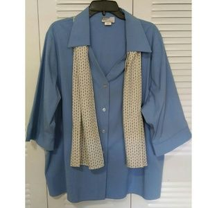 Executive Uniforms Tops - NWOT Blue plus size blouse with free scarf.