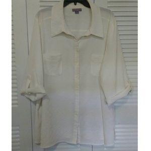 Laura Scott Tops - White plus size blouse