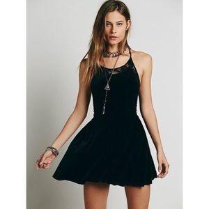 Free People Dresses & Skirts - Black velvet and lace insert dress