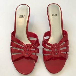 Impo red dress sandals with kitten heel Sz 10