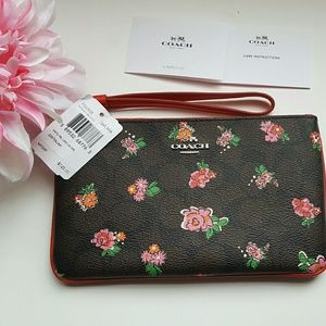 Coach Handbags - Coach Printed Floral Large Wristlet,Brown Red Rose