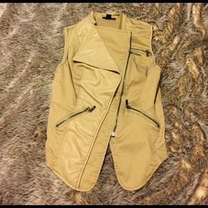 Double Zero Jackets & Blazers - Khaki leather vest
